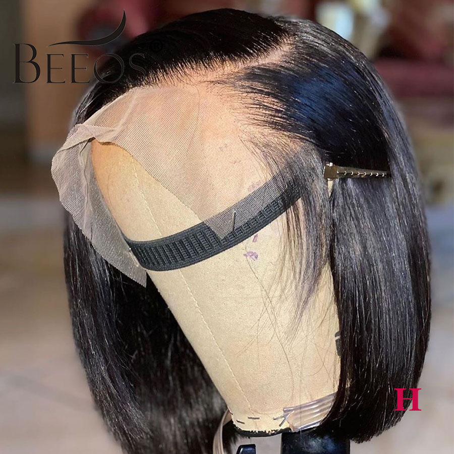 Beeos High Ratio 13*4 Lace Front Human Hair Wig Straight Bob 130% Brazilian Remy Hair Bleached Knots  8