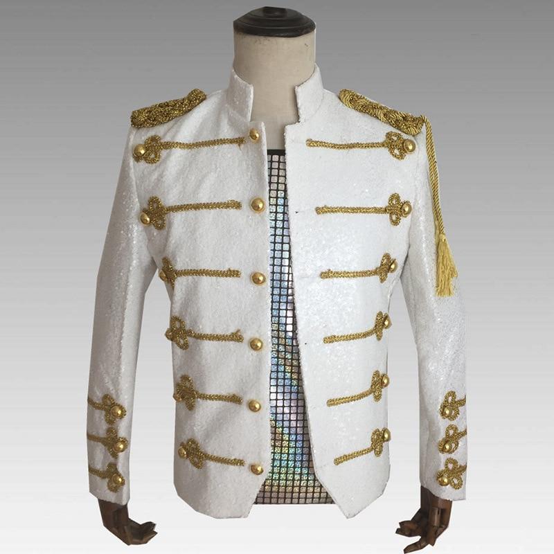 Uniforme militaire hommes vêtements formels fête célébration scène Sequin hommes costume coupe mince Blazer veste drame Performance usure