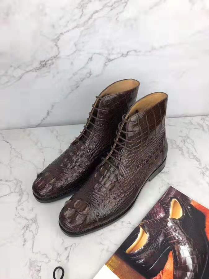 Newly design 100% Genuine crocodile skin head back leather boots winter fashion style men shoe with cow skin lining brown color