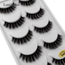 LANJINGLIN 5 pairs strip 3d mink lashes makeup natural long false eyelashes hand made fake eye G600