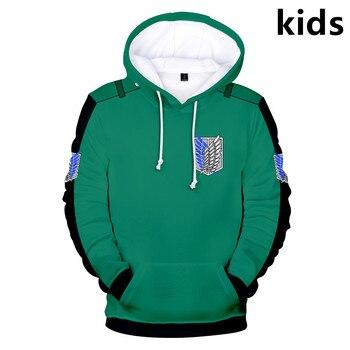 3 to 14 years kids hoodie Anime Attack on Titan 3d printed hoodies sweatshirt boys girls outerwear Jacket coat children clothes