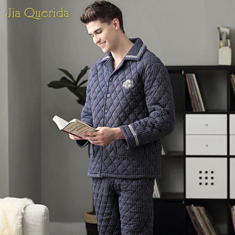 Pajamas Men's Winter Home Suits 100% Cotton Fabric 3 Layer Padded Thick Warm Pjs Royal Blue Striped Badge Front Luxury Pajamas
