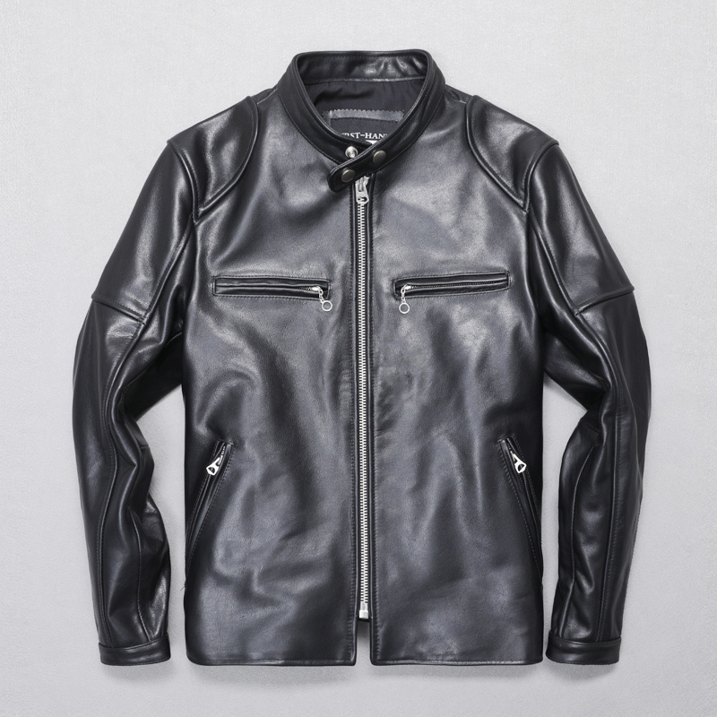 Free Shipping.2020 New Quality Cowhide Motor Jacket.mens Short Slim Genuine Leather Coat.handsome Driver Jacket.sales