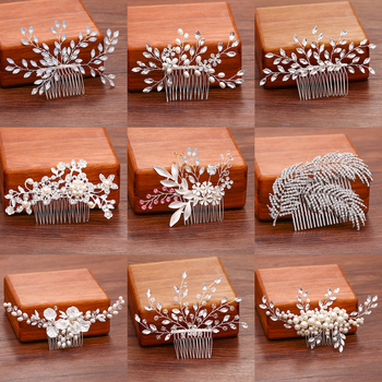 Ladies Hair Comb Jewelry Pearl Rhinestone Hair Comb Hair Accessories Wedding Hair Comb Bridal Accessories Silver Color Ornament bridal hair accessories wedding hair comb bridal rhinestone crystal peacock feathers hair comb bridesmaid jewelry