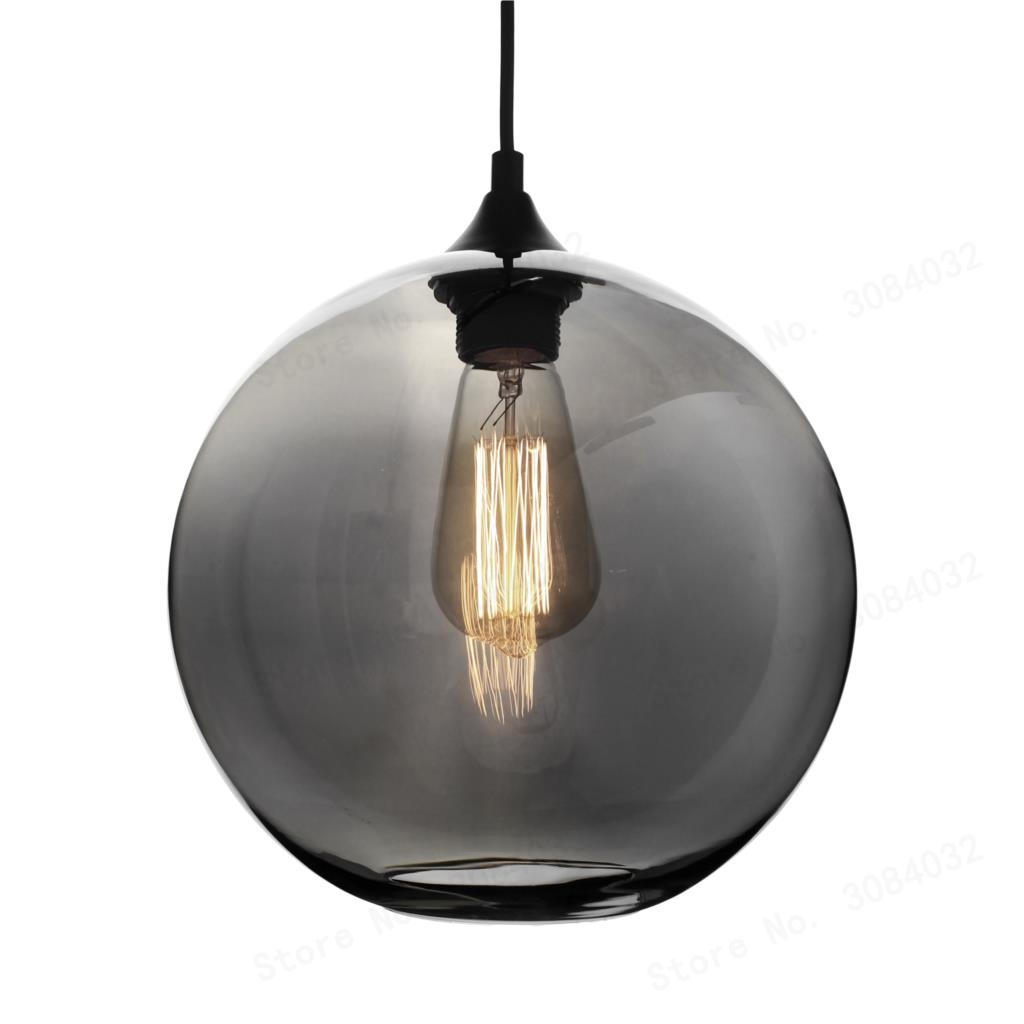 BDBQBL LED Loft Smoke Gray Glass Ball Pendant Lamp Bowl Hanging Lights Lamp Kitchen Living Room Bedroom Restaurant Hotel Halls