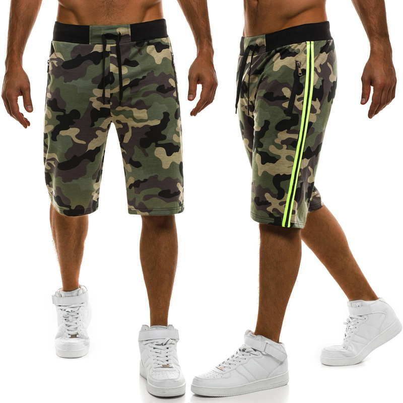 Zogaa Men's Cargo Pockets Shorts Camouflage Distressed Ribbed Patches Army Casual Shorts Loose Comfortable Cargo Hip Hop Joggers