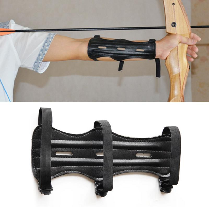Cowhide Archery Equipment Arm Guard Protection Forearm Safe Adjustable Bow Shooting Arm Armband 3 Straps Shoot Black Arm Guard