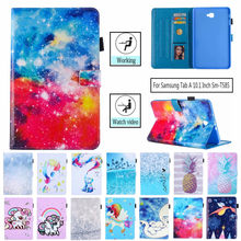 Tablet Case For Samsung Galaxy Tab A 10.1 T580 SM-T580 T585 10.1 inch Smart Cover Cat Panda Flip Stand PU Leather Skin Funda(China)