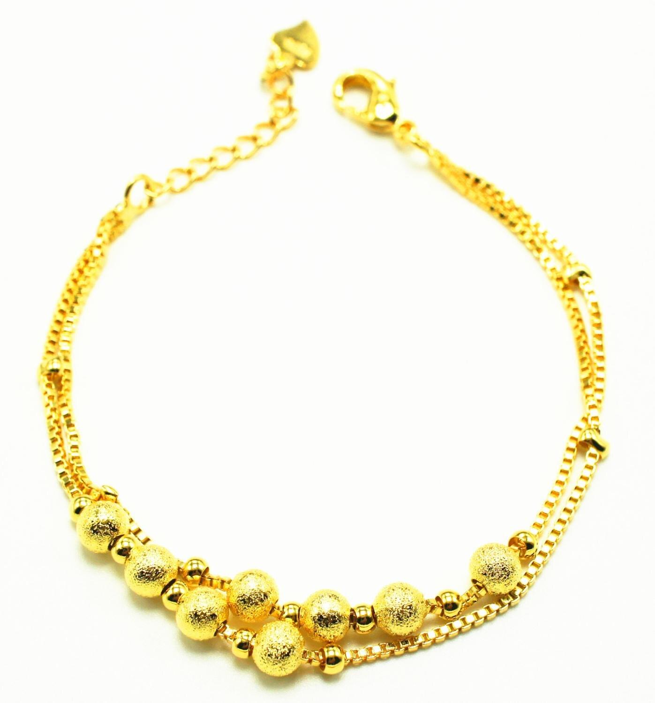 純粋なゴールドカラー調整可能な女性のための、 captivate バーローズゴールドビーズチェーンジュエリー pulseira feminia