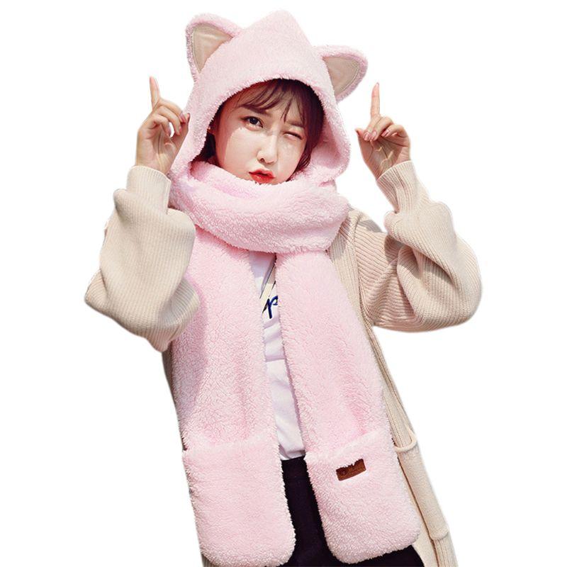 Womens 3 In 1 Warm  Plush Winter Hat Cute Animal Ears Scarf Gloves Hoodie Cap Y1AC