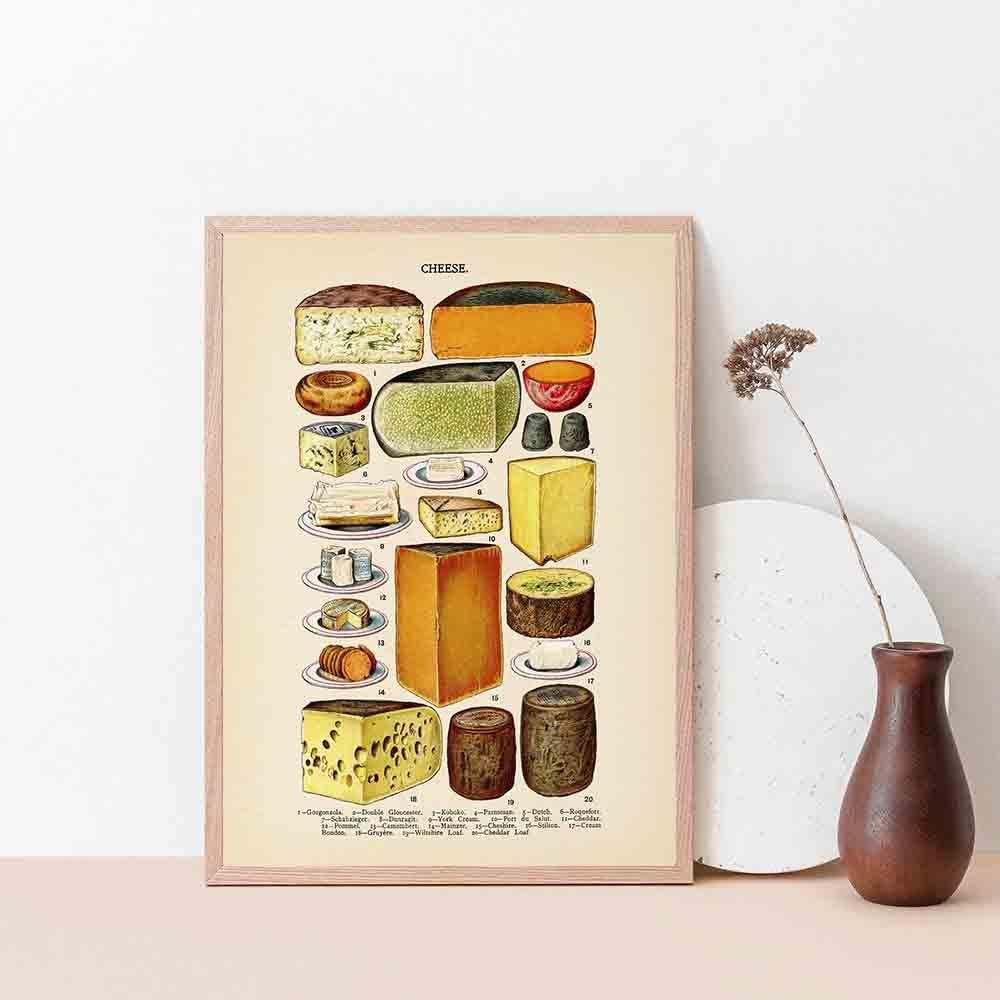 Винтажные постеры и принты с изображением сыра на кухне, украшение на холсте, настенные картины, хлеб, еда, художественная живопись, подарки на завтрак, домашний декор