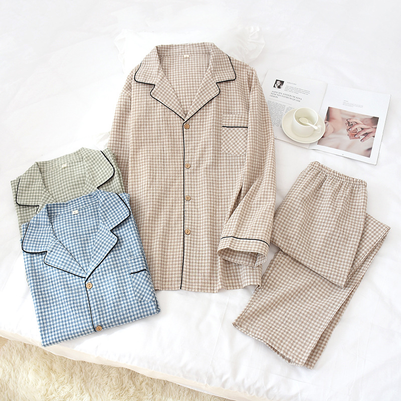 New Cotton And Linen Men's Plaid Long Sleeve Nightgown Turn-down Collar Fine Casual Men Sleepwear Eco-friendly Fabric Pajama Set