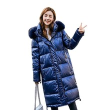 Female Down jacket Medium and Long Winter New Style Fashion, Loose and Thicker Bright White Duck Down Casual Coat(China)