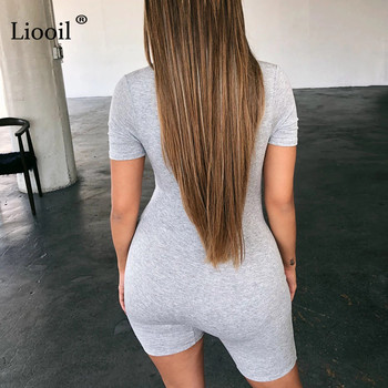 Liooil Black Gray Bodycon Playsuit Women Wear On Both Sides Sexy Jumpsuit Autumn 2020 Zip Up Party Club Romper Jumpsuits Shorts 2