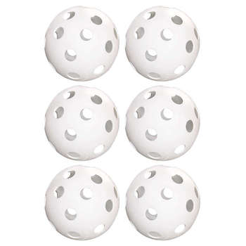 Hot-6-Pack Of 9-Inch Softballs–Perforated Practice Balls For Sports Training & Wiffle Ball image