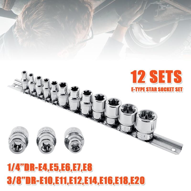 1/4 Inch 3/8 Inch Torx Star Socket Set Femal E Type Sockets Wrench Head E4 E5 E6 E7 E8 E10 E12 E14 E16 E18 E20 Auto Repair Tools