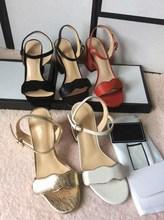 Women Designer sandal Luxury high Heels Leather Dress Wedding Shoes Sexy shoes Double Letters heel Sandals Ladies shoes mid-heel