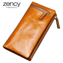 Zency moda damska portfele wykonane z prawdziwej skóry o dużej pojemności monety kiesy etui na karty wysokiej jakości długi portfel czarny niebieski