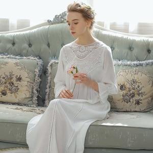 Image 3 - Princess Style Cotton Night Dress Women Sleepwear Lace Palace Vintage Nightgowns Solid Teenage Girl Sleeping Dress Long Nighty