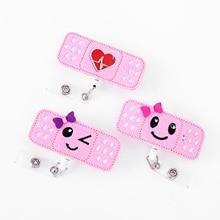 3 Pink Nurses Badge Reel Holder for Students & Teachers Retractable ID Card with Alligator C