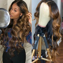 Wig Lace-Front Brazilian for Women Highlight Human-Hair Body-Wave 13X1 Pre-Plucked