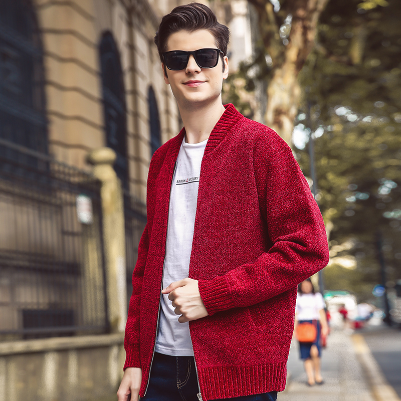 New Casual Winter Solid Color Cardigan Sweater Coat Baseball Collar Plus Velvet Thick Sweater Youth Men Warm Sweater Coat MWK010