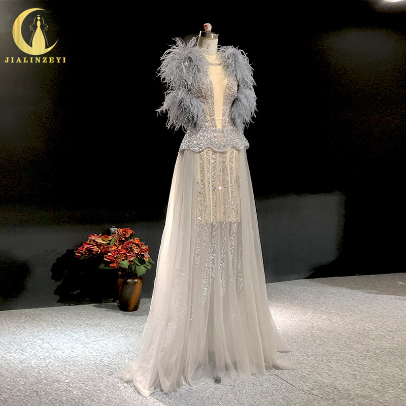 Rhine Real Pictures Sexy Sexy Beads Crystal Feathers High Quality Prom Dress Evening Dresses Long