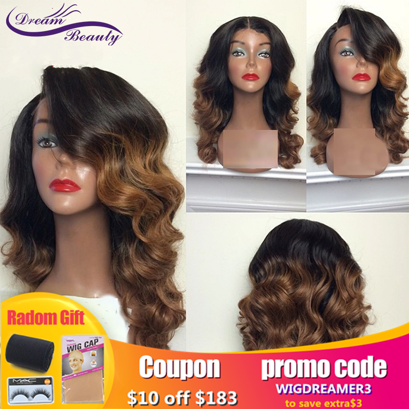 Dream Beauty Wave 13X6 Lace Front Wig With Baby Hair Ombre Human Hair Wig Pre Plucked Remy Hair Glueless  Human Hair Wigs