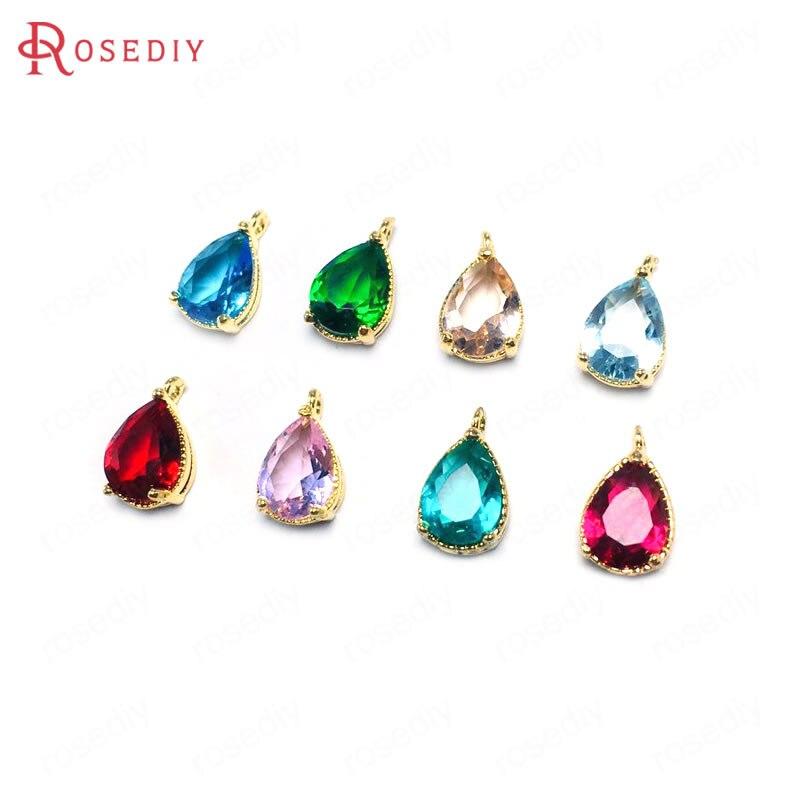 24KGold Plated Fluorite Water Drop Crystal Necklace Dowsing Reiki Healing Chakra