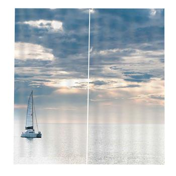 The Sailboat Sailed At Sunset On The Sea for Living room bedroom print window curtains home Drapes