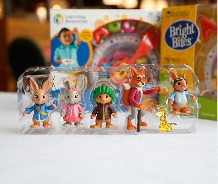 4pcs No Box Cartoon Peter Rabbit Action Figure Dolls.6-10cm Peter Lily Benjamin Mr Tod Butkin Kids Lovely Animal Toy