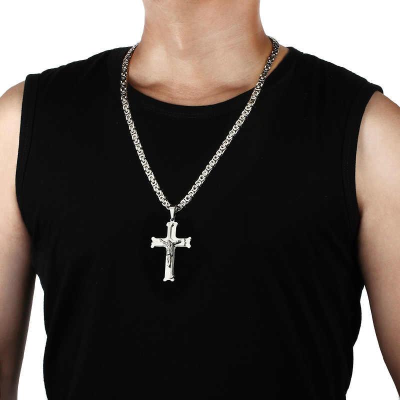 Chrystusami, katolicki jezus krucyfiks wisiorki krzyżowe naszyjniki ze stali stalowe długie Link naszyjnik łańcuszkowy bizantyjski mężczyźni biżuteria modlitewna
