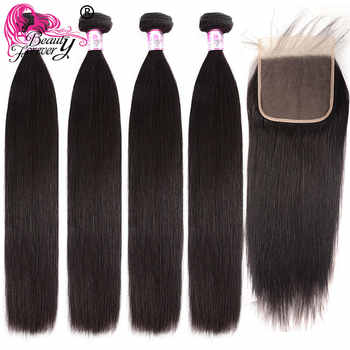 Beauty Forever Straight Hair Brazilian Human Hair Bundles With 4*4 Lace Closure Free/Middle/Three Part 100% Remy Hair Extensions - DISCOUNT ITEM  30% OFF All Category