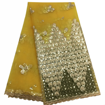 New Arrival 2019 African Yellow Lace Fabrics High Quality Nigerian Tulle Fabric With Full Sequins For Women Party Dresses