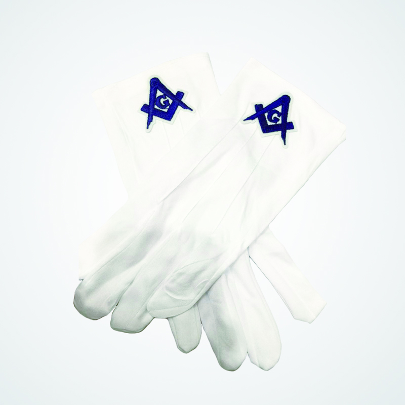 Masonic White Gloves Mason Free Custom Embroidered White Gloves Gloves Formal Uniform Guards Butler High Quality Polyester