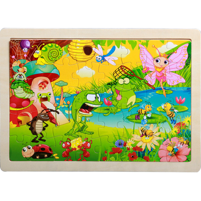 40 Pieces Kids Wooden Puzzle Board Toy Fun Cartoon Animal Jigsaw Boy Girl Baby Early Educational Learning Toys for Children Gift 15