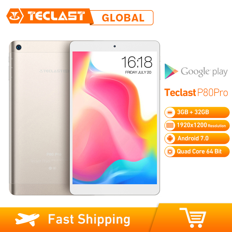 Teclast P80 Pro <font><b>Tablet</b></font> <font><b>3GB</b></font> <font><b>RAM</b></font> 32GB ROM Android 7.0 MTK8163 Quad Core 1,3 GHz Dual WiFi GPS HDMI dual Kameras 1920*1200 PC Gold image