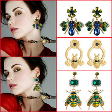 Oorbellen For women New design bee earrings zinc alloy insect Drop earrings rhinestone drop oil earrings new jewelry gifts
