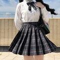 [Дымчато-серая] летняя плиссированная юбка с высокой талией для девочек клетчатые юбки женское платье для школьной формы jk одежда для студе...