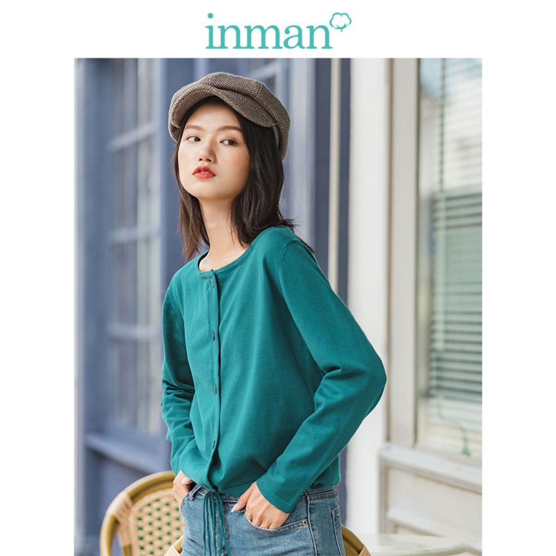INMAN 2019 Autumn Winter New Arrival Elegant Boat Neck Minimalism Loose Lacing Solid Literary Women Cardigan