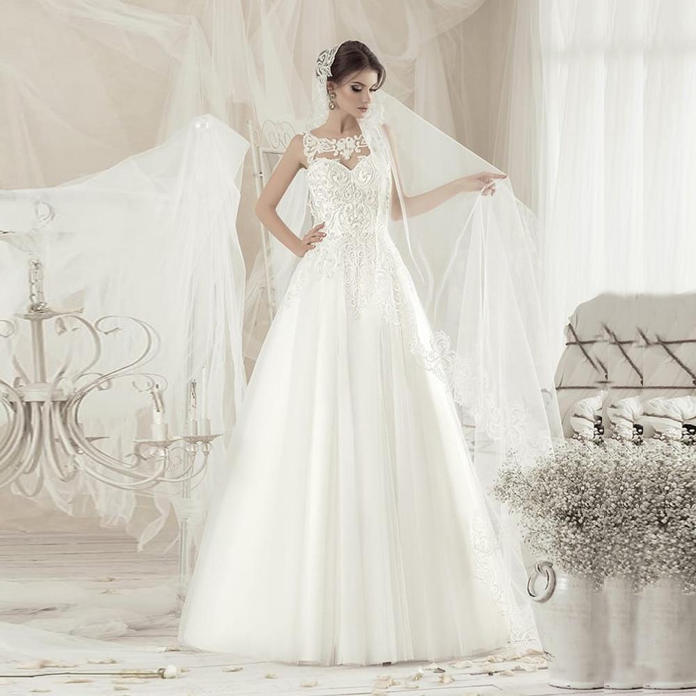 New Wedding Dress Vestido De Noiva Sleeveless Scoop Applique Beading Tulle Boho Wedding Gowns Plus Size Back Lace-up