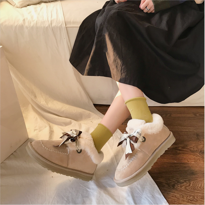 New Autumn Flat Keep Warm Ankle Boots Women Lace Up Short Plush Snow Boots Shoes Woman Winter Cotton Shoes Women Chaussure 2019 52