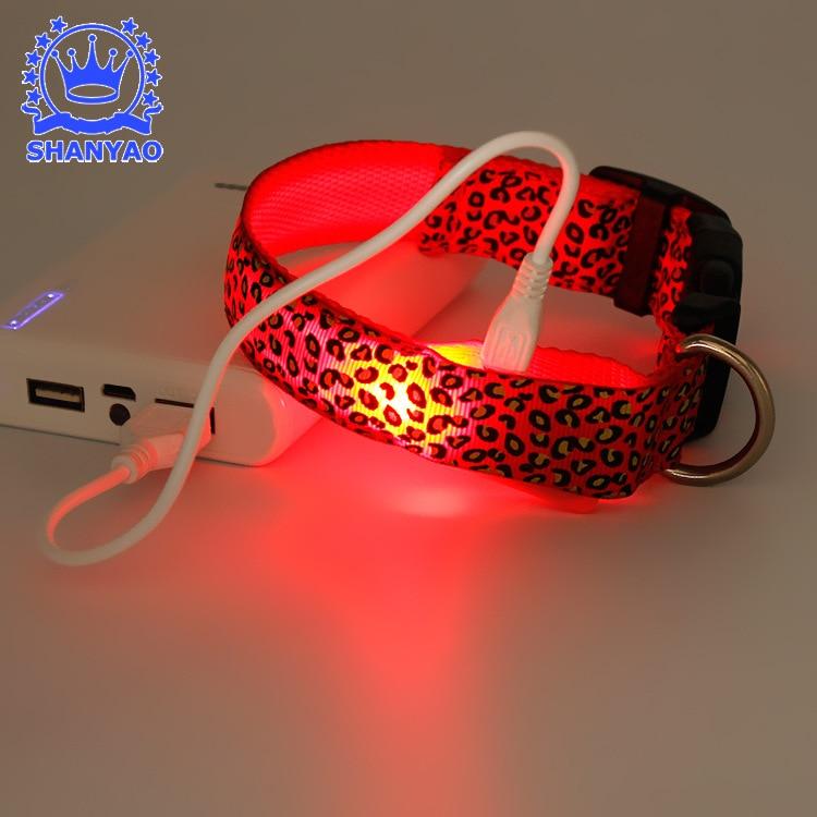 Charging LED Luminous Dog Collar USB Spot Line Night Light Neck Ring Leopord Pattern Pet Supplies Multi-color
