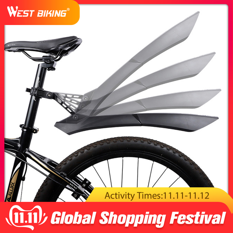 WEST BIKING Quick Release Mountain Bike Fenders 2PCS Front Rear Cycling Bike Mudguard Wing 24 26 27.5 29 Inch MTB Bicycle Fender