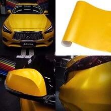 Matte metálico amarelo carro vinil envoltório filme pvc decalques adesivos folha telefone portátil etiqueta mais opções de tamanho