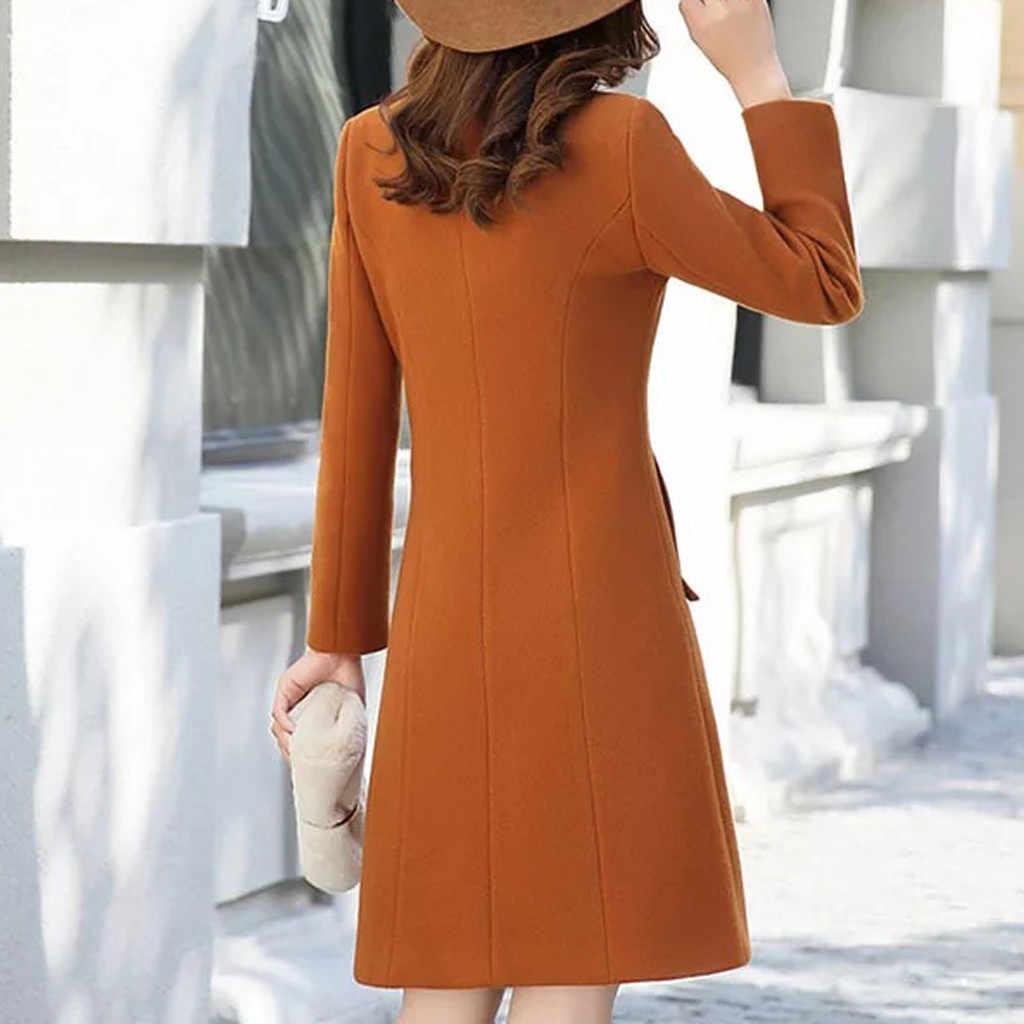 Jaycosin Korea Perpaduan Elegan Mantel Musim Dingin Kasual Wanita Lengan Panjang OL Cardigan Tops Wanita Kasual Panjang Menengah Slim sesuai 91