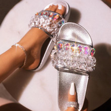 Women Slippers Crystal Shoes Platform Flat Sole Flip Flops Beach Transparent Mules Ladies Slides Party Sandals Zapatos De Mujer(China)