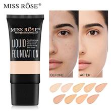 MISS ROSE Base Face Liquid Foundation Cream Full Coverage Concealer Oil-control Easy to Wear Soft Face Makeup Foundation imagic base face liquid foundation cream full coverage concealer oil control easy to wear soft face makeup foundation with puff
