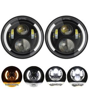 Ходовые огни 40 Вт 80 Вт 75 Вт Автомобильные светодиодные H4 7 дюймов автомобильные аксессуары ангельские глазки H4 светодиодные фары для Lada Niva 4X4...