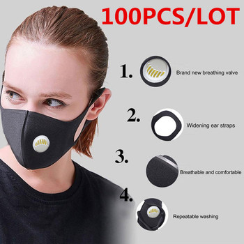 100/10 Pcs Breathing Valve Washable Reusable Anti Dust Mask Windproof Mouth-muffle Bacteria Proof Flu Mouth Face Black Masks